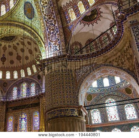 Istanbul, Turkey - July 8, 2017: Internal view of Blue Mosque Sultanahmet