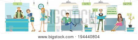 People in the interior of a Bank or office. The cashier or the consultant at the counter, the young girl at the ATM and Visitors on the sofas. Vector illustration.