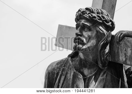 Jesus Christ with the cross (fragment of antique statue)