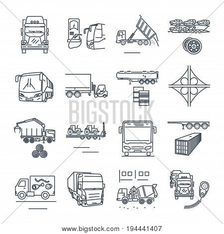 set of thin line icons freight and passenger road transport bus truck