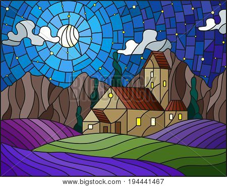 Illustration in stained glass style landscape with a lonely house amid lavender fields mountains and starry sky