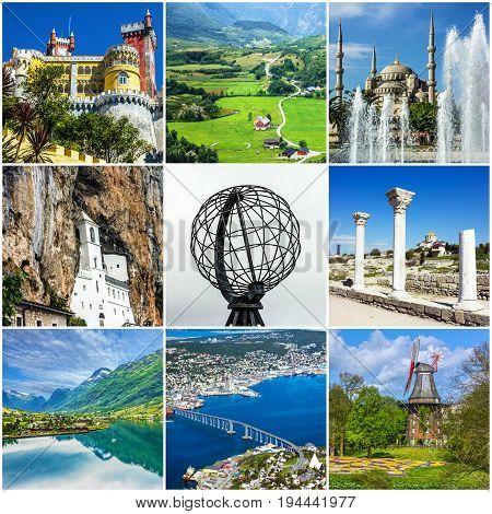 Travel collage. European landmarks. Portugal Sintra Istanbul Turkey Crimea Germany Bavaria Norway Montenegro