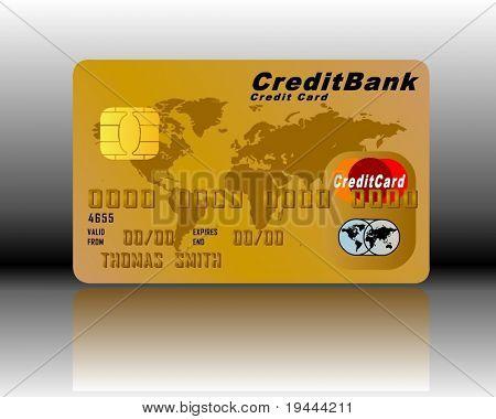 Kreditkarte in Gold mit Schatten und Hintergrund