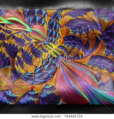 3D rendering of plastic background with embossed colorful flower bubbles fractal on leather