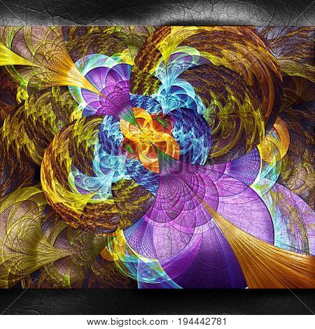3D rendering of plastic background with embossed colorful flower fractal on leather