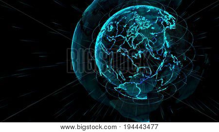 Outline earth with grid line on space illustration.Future world with technology concept.Digital planet telecommunications network of global internet