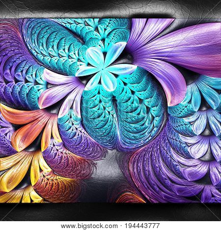 3D rendering of plastic background with embossed bunch of colorful flowers fractal on leather