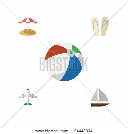 Flat Icon Season Set Of Beach Sandals , Aircraft, Parasol Vector Objects. Also Includes Plane, Flop, Craft Elements.