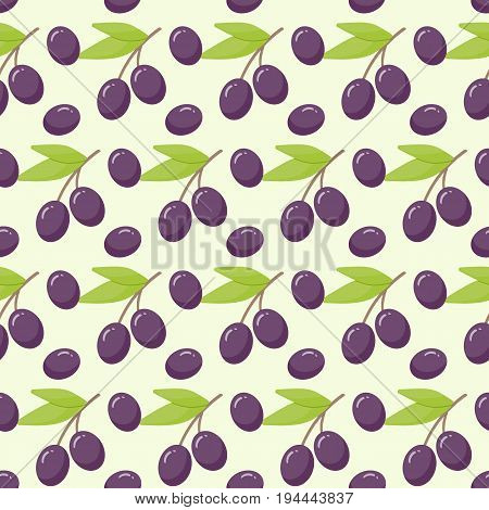 Olive branch vector seamless pattern Flat design of food health care or Mediterranean cuisine wallpaper plastic water bottle illustration