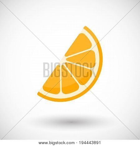 Orange segment vector flat icon Flat design of food drink citrus and nature object with round shadow isolated on the white background cute vector illustration with reflections