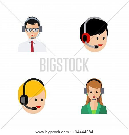 Flat Icon Center Set Of Secretary, Call Center, Help And Other Vector Objects. Also Includes Operator, Human, Call Elements.