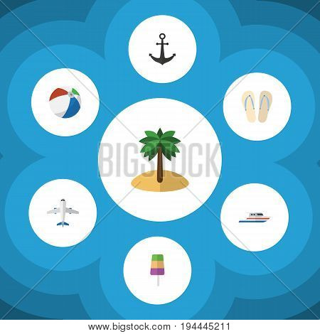 Flat Icon Summer Set Of Beach Sandals , Boat, Sundae Vector Objects. Also Includes Boat, Sphere, Yacht Elements.