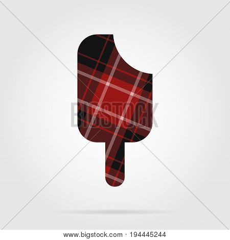 red black isolated tartan icon with white stripes - stick ice cream and shadow in front of a gray background