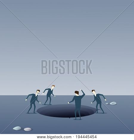 Business People Group Looking In Hole Fail Bankruptcy Crisis Concept Flat Vector Illustration