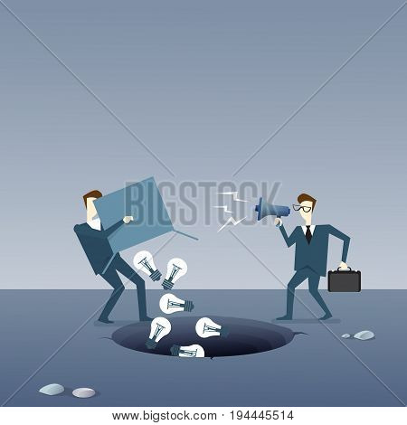 Business Man Throwing Light Bulbs In Hole, Idea Crisis Concept Flat Vector Illustration