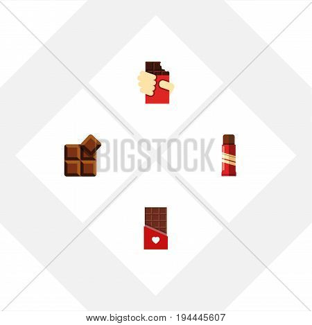 Flat Icon Chocolate Set Of Sweet, Cocoa, Shaped Box And Other Vector Objects. Also Includes Cocoa, Chocolate, Delicious Elements.