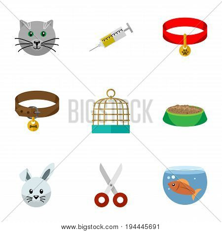Flat Icon Pets Set Of Bunny, Fishbowl, Vaccine And Other Vector Objects. Also Includes Birdcage, Necklace, Shears Elements.
