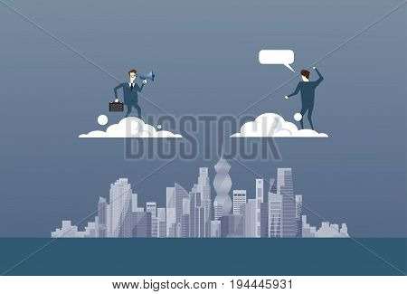 Business Man With Binoculars Looking At Businessman Partner On Cloud Future Successful Partner Concept Flat Vector Illustration