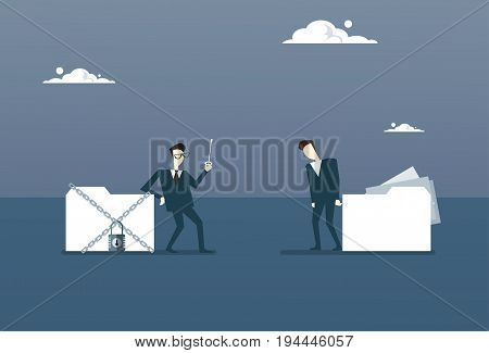 Businessman Holding Key From Database, Corporate Data Protection Concept Flat Vector Illustration