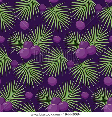 Acai berries vector seamless pattern Flat design of superfood or healthy eating wallpaper isolated on the dark background cute vector illustration with reflections