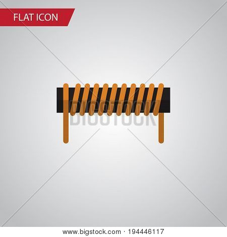 Isolated Coil Copper Flat Icon. Bobbin Vector Element Can Be Used For Bobbin, Coil, Copper Design Concept.