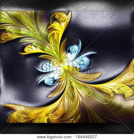 3D rendering of plastic background with embossed yellow flower fractal on leather