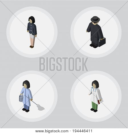 Isometric Person Set Of Housemaid, Girl, Detective And Other Vector Objects. Also Includes Housemaid, Detective, Housekeeper Elements.