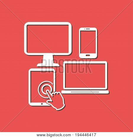 Smartphone computer tablet netbook symbol. Flat design.