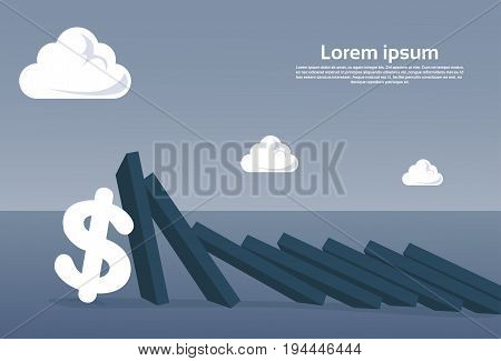 Chart Bar Falling On Dollar Sign Economic Fail Crisis Concept Flat Vector Illustration