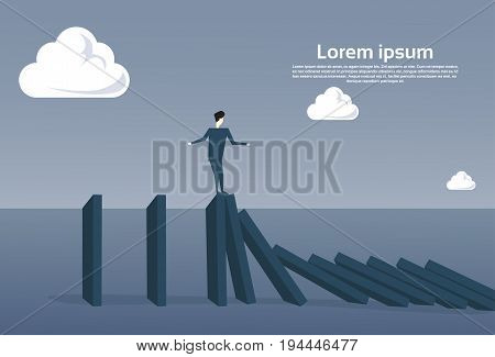 Business Man Standing On Chart Bar Falling Economic Fail Crisis Concept Flat Vector Illustration