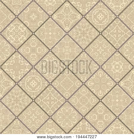 Light brown abstract patterns in the mosaic set. Square scraps in oriental style. Vector illustration. Ideal for printing on fabric or paper.