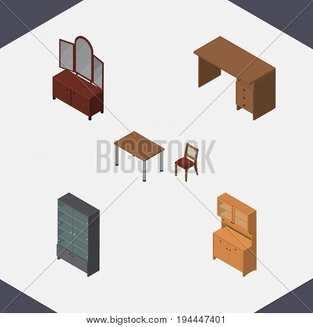 Isometric Furnishing Set Of Drawer, Cupboard, Table And Other Vector Objects. Also Includes Mirror, Closet, Cupboard Elements.
