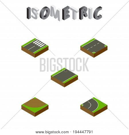 Isometric Way Set Of Unilateral, Turn, Down And Other Vector Objects. Also Includes Downward, Down, Strip Elements.