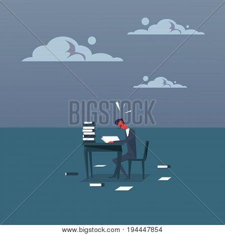 Business Man Busy With Paperwork With Red Head Study Heap Of Documents Overworked Tired Businessman Sitting At Office Desk Working Flat Vector Illustration