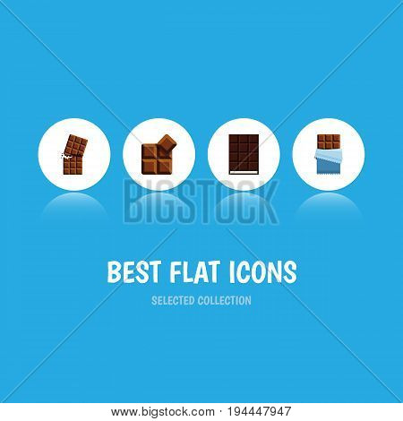 Flat Icon Cacao Set Of Bitter, Wrapper, Dessert And Other Vector Objects. Also Includes Chocolate, Bitter, Wrapper Elements.