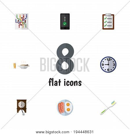 Flat Icon Life Set Of Questionnaire, Clock, Lunch And Other Vector Objects. Also Includes Time, Breakfast, Questionnaire Elements.