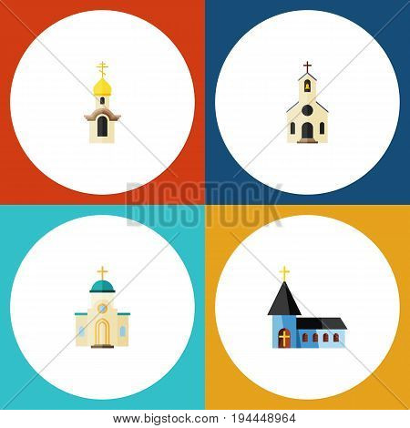 Flat Icon Building Set Of Structure, Religious, Building And Other Vector Objects. Also Includes Christian, Architecture, Church Elements.