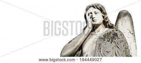 statue of sad angel as symbol of eternity life and death (Religion faith concept)