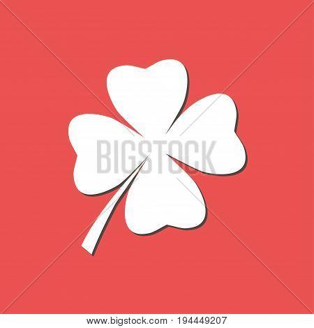 Leaf clover sign icon. Saint patrick symbol. Ecology concept. Flat design style.
