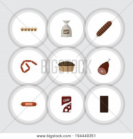Flat Icon Eating Set Of Fizzy Drink, Tart, Smoked Sausage And Other Vector Objects. Also Includes Bar, Fizzy, Drink Elements.