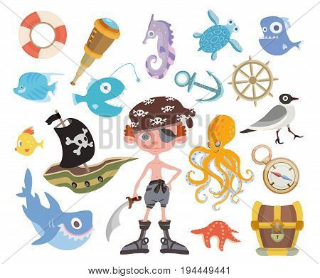 Sea adventure set. Young one-eyed pirate with a sword, treasure chest, shark, octopus and other pirate items. Children's vector illustration, isolated on white background.