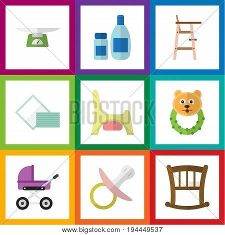 Flat Icon Baby Set Of Toilet, Stroller, Infant Cot And Other Vector Objects. Also Includes Bed, Cot, Stool Elements.