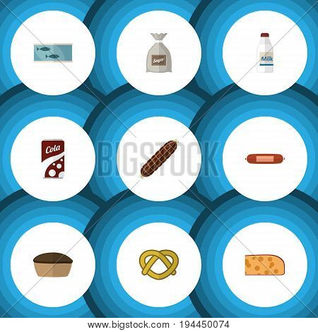 Flat Icon Eating Set Of Tart, Cheddar Slice, Sack And Other Vector Objects. Also Includes Bag, Holland, Canned Elements.