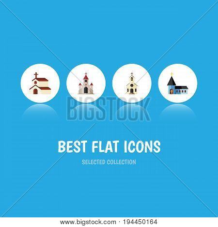 Flat Icon Church Set Of Christian, Religion, Building And Other Vector Objects. Also Includes Church, Structure, Catholic Elements.