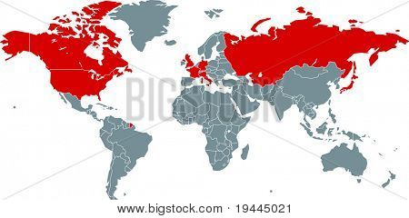 G8 Nations on world map