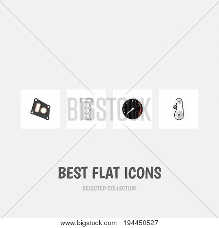 Flat Icon Component Set Of Cambelt, Packing, Gasket And Other Vector Objects. Also Includes Speed, Belt, Drive Elements.