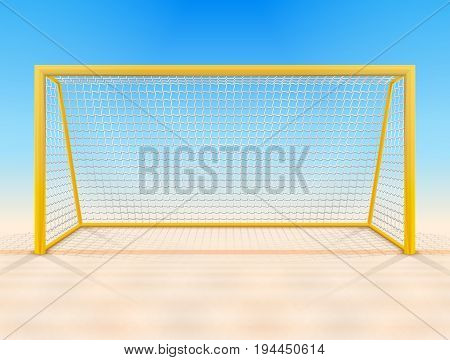Beach soccer goal post with net front view. Beach football goal on sand field. Best vector illustration for soccer sport game football championship gameplay etc