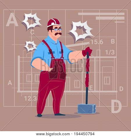 Cartoon Builder Holding Big Hammer Construction Worker Over Abstract Plan Background Male Workman Flat Vector Illustration