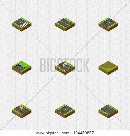 Isometric Way Set Of Without Strip, Subway, Navigation And Other Vector Objects. Also Includes Pedestrian, Under, Single Elements.