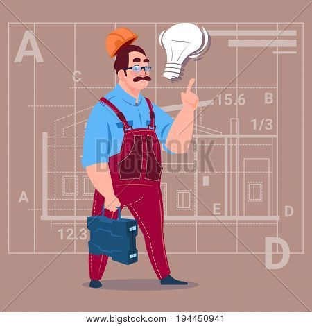 Cartoon Builder With Light Bulb Wearing Uniform And Helmet Construction Worker Over Abstract Plan Background Male Workman Flat Vector Illustration